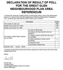 Great Glen Neighbourhood Plan Referendum - Result